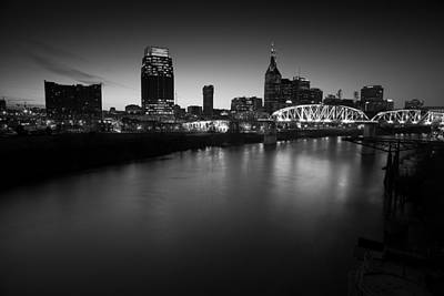 Nashville Skyline Black And White Art Print
