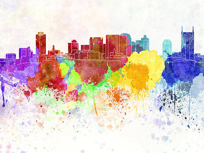 Nashville Skyline In Watercolor Background Print by Pablo Romero