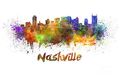 Nashville Skyline In Watercolor Print by Pablo Romero