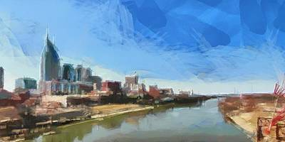 Downtown Nashville Painting - Nashville Skyline Panorama by Dan Sproul