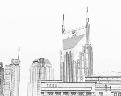 Drawing - Nashville Skyline Sketch Batman Building by Dan Sproul