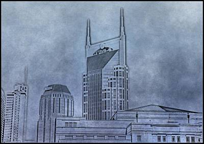Nashville Skyline Sketch Art Print by Dan Sproul