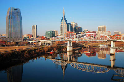 Cumberland River Photograph - Nashville Skyline, Tennessee by Panoramic Images
