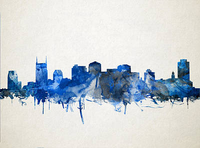 Nashville Skyline Watercolor 11 Art Print