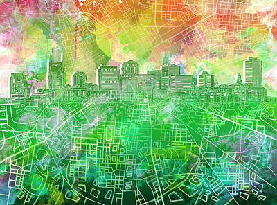 Abstract Digital Painting - Nashville Skyline Watercolor 2 by Bekim Art