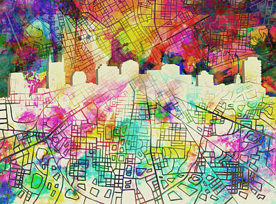 Nashville Skyline Wall Art - Painting - Nashville Skyline Watercolor 7 by Bekim Art