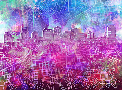 Royalty-Free and Rights-Managed Images - Nashville Skyline Watercolor by Bekim M
