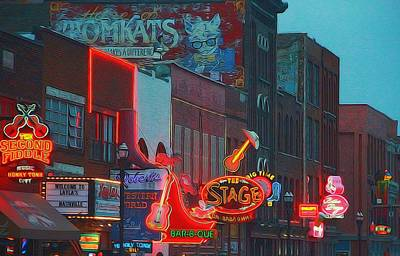 Neon Mixed Media - Nashville Strip Lit Up by Dan Sproul