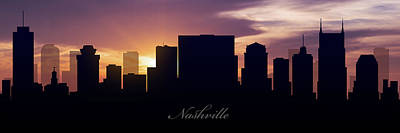 Skylines Royalty-Free and Rights-Managed Images - Nashville Sunset by Aged Pixel