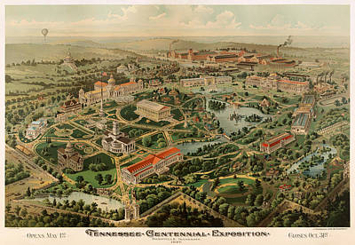 Tennessee Map Drawing - Nashville Tennessee Centennial Exposition Map 1897 by Mountain Dreams