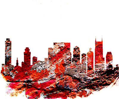 Downtown Nashville Digital Art - Nashville Tennessee Skyline by Brian Reaves