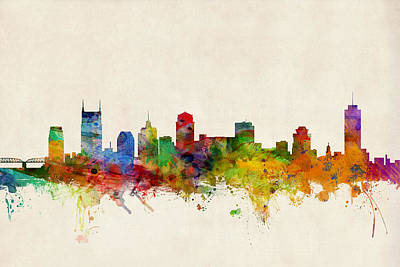 Watercolor Digital Art - Nashville Tennessee Skyline by Michael Tompsett