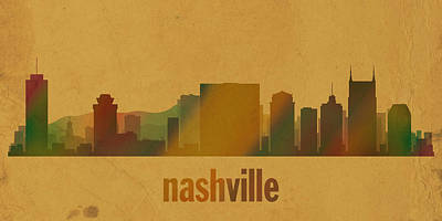 Nashville Tennessee Mixed Media - Nashville Tennessee Skyline Watercolor On Parchment by Design Turnpike