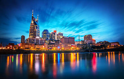 Cumberland River Photograph - Nashville Twilight by Lucas Foley