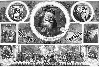 Santa Claus Painting - Nast Christmas, 1865 by Granger