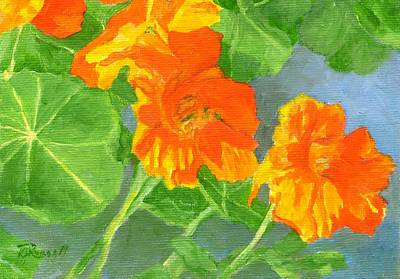 Painting - Nasturtiums Flowers Garden Small Oil Painting by Elizabeth Sawyer