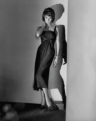 Natalie Fell Cushing Wearing A Dress Art Print by Horst P. Horst