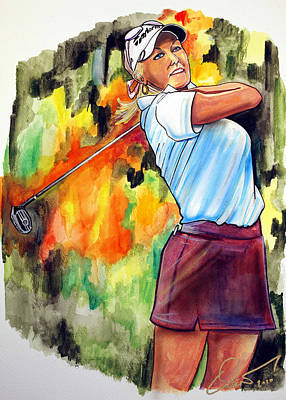 Golf Art Painting - Natalie Gulbis by Dave Olsen