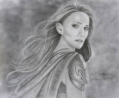 Thor Drawing - Natalie Portman by Kat Ewing