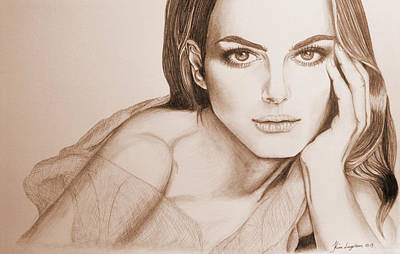 Drawing - Natalie Portman by Kim Lagerhem