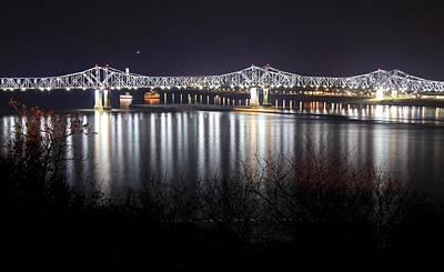 Natchez Bridge By Night Art Print by Aaris K