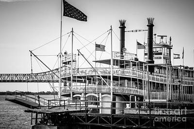 Mississippi River Photograph - Natchez Steamboat In New Orleans Black And White Picture by Paul Velgos