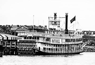 Steamboat Photograph - Natchez Sternwheeler Bw by Steve Harrington