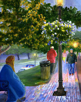 Art Print featuring the painting Natchitoches Front Street Cane River by Lenora  De Lude