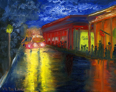 Natchitoches Louisiana Mardi Gras Parade At Night Art Print