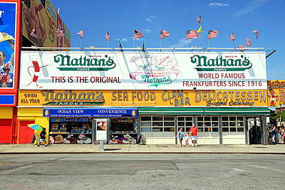 Nathans Famous Frankfurters Photograph - Nathan's Coney Island by Valentino Visentini