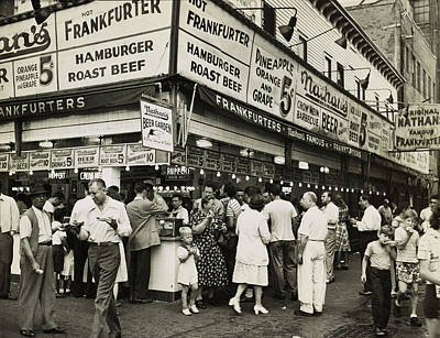 Nathans Famous Frankfurters Photograph - Nathan's Famous Frankfurters - Nyc 1947 by Mountain Dreams