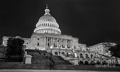 National Capitol At Night Art Print by Jerry Fornarotto