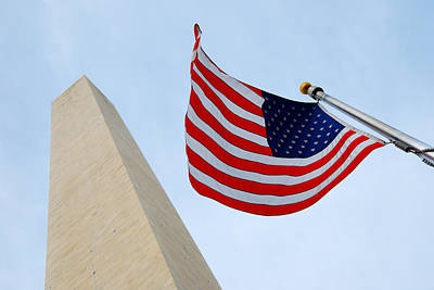 Photograph - National Flag And George Washington Monument. by Songquan Deng