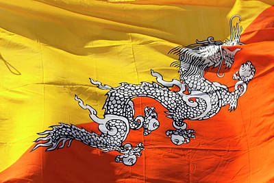 Bhutan Photograph - National Flag Of Bhutan by Peter Adams