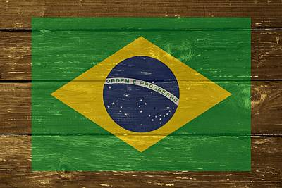 Brazil National Flag On Wood Print by Movie Poster Prints