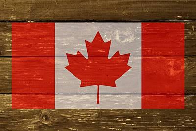 Canada National Flag On Wood Art Print