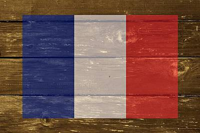 France National Flag On Wood Art Print