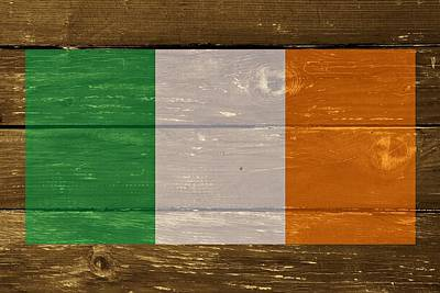 Images Of Ireland Digital Art - Ireland National Flag On Wood by Movie Poster Prints