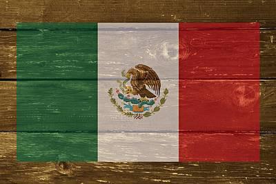 Mexico National Flag On Wood Art Print