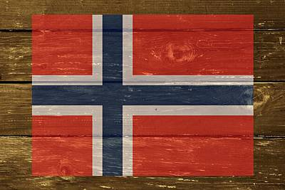 Norway National Flag On Wood Art Print by Movie Poster Prints