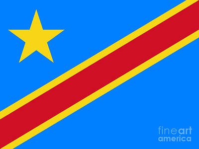 National Flag Of The Democratic Republic Of The Congo Authentic Version To Scale And Color Art Print
