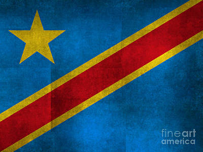 National Flag Of The Democratic Republic Of The Congo Textured Version To Scale Art Print