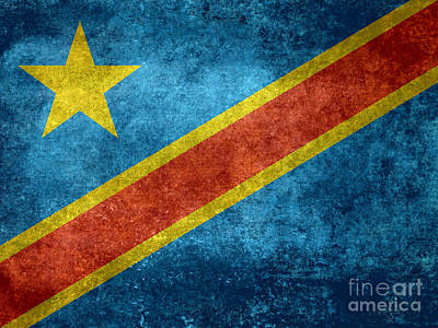 National Flag Of The Democratic Republic Of The Congo Vintage Version To Scale Art Print