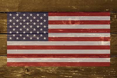 United States Of America National Flag On Wood Art Print