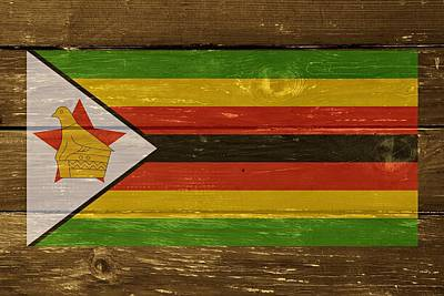 Zimbabwe National Flag On Wood Art Print by Movie Poster Prints