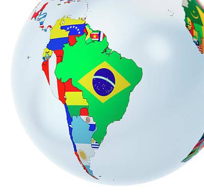 National Flags On Globe Art Print by Andrzej Wojcicki/science Photo Library