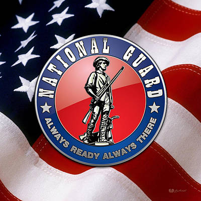 National Guard Of The United States Emblem Over American Flag Original