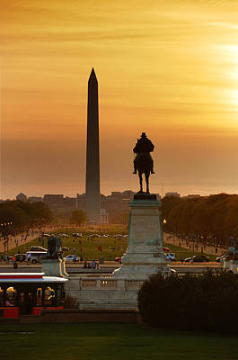 Photograph - National Mall Sunset In Washington Dc by Songquan Deng