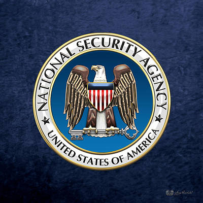National Security Agency - N S A Emblem On Blue Velvet Original by Serge Averbukh