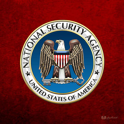 National Security Agency - N S A Emblem On Red Velvet Original by Serge Averbukh